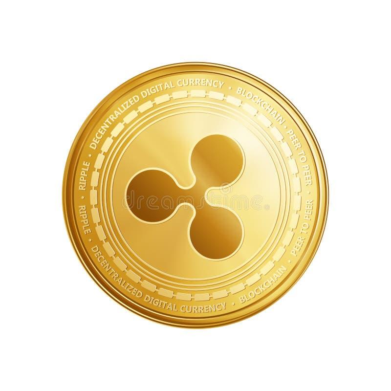 Χρυσό σύμβολο νομισμάτων κυματισμών blockchain διανυσματική απεικόνιση