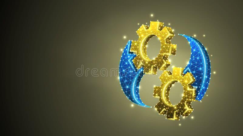 Χρυσό σύμβολο yin-Yan εργαλείων Ισορροπία βιομηχανίας, επιχειρησιακή λύση, τεχνολογία, έννοια εφαρμοσμένης μηχανικής Περίληψη, ψη ελεύθερη απεικόνιση δικαιώματος
