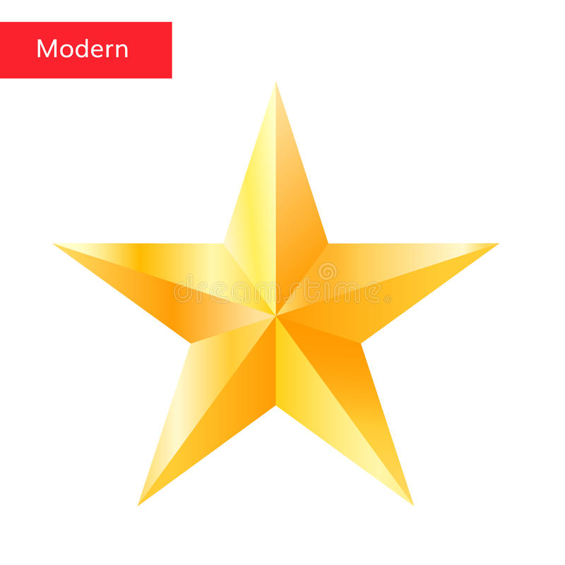 Χρυσό σύμβολο αστεριών αστεριών τρισδιάστατο απεικόνιση αποθεμάτων