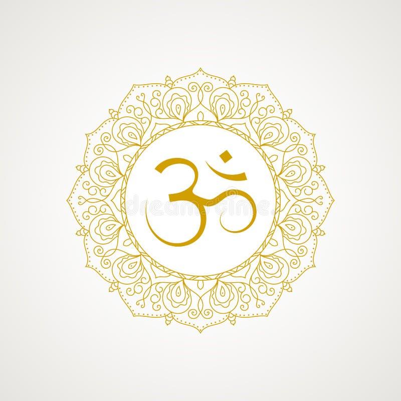 Χρυσό σύμβολο του OM στο διάνυσμα διανυσματική απεικόνιση