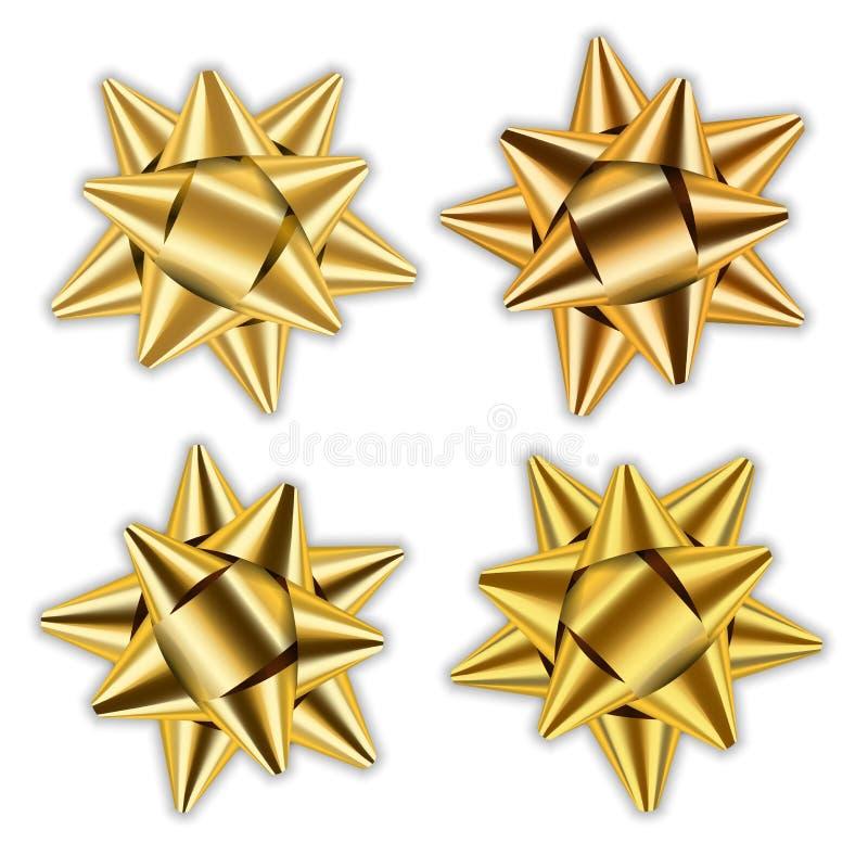 Χρυσό σύνολο κορδελλών τόξων τρισδιάστατο Συσκευασία στοιχείων ντεκόρ Το λαμπρό χρυσό παρόν δώρων διακοσμήσεων, σχέδιο διακοπών,  ελεύθερη απεικόνιση δικαιώματος
