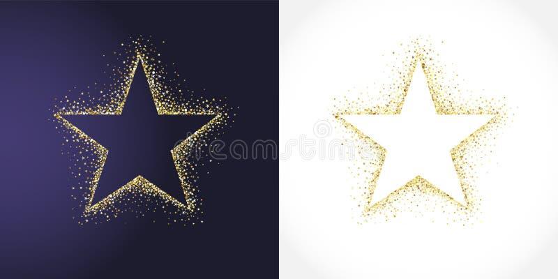 Χρυσό σύνολο συλλογής αστεριών απεικόνιση αποθεμάτων