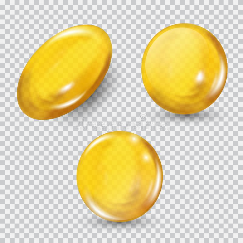 Χρυσό σύνολο σφαιρών γυαλιού που απομονώνεται στο διαφανές υπόβαθρο Αναπαράγετε τη σύνθετη έννοια κρέμας και βιταμινών προσώπου διανυσματική απεικόνιση
