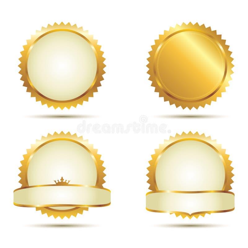 χρυσό σύνολο σφραγίδων διανυσματική απεικόνιση