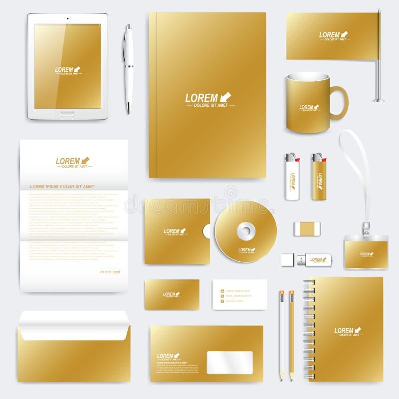 Χρυσό σύνολο διανυσματικού εταιρικού προτύπου ταυτότητας Σύγχρονο πρότυπο επιχειρησιακών χαρτικών ελεύθερη απεικόνιση δικαιώματος