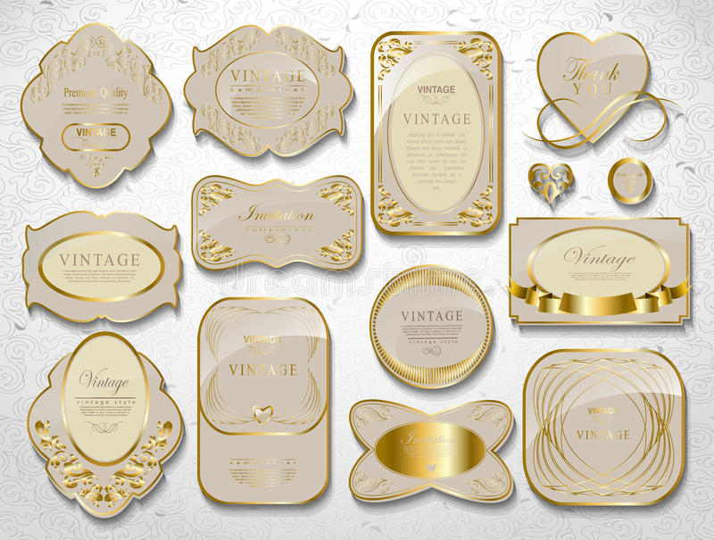 Χρυσό σύνολο καρτών απεικόνιση αποθεμάτων