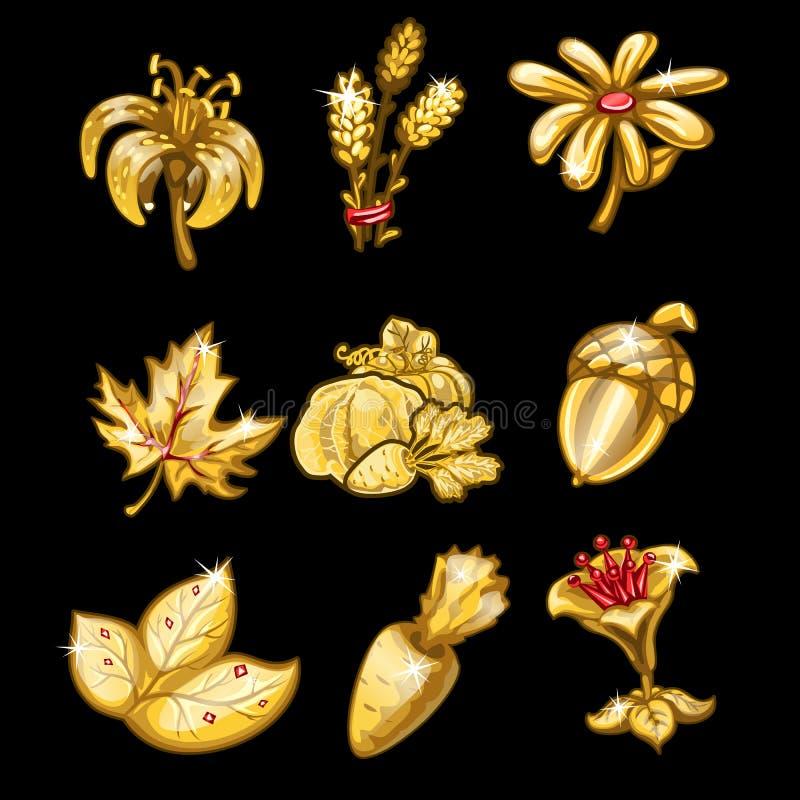 Χρυσό σύνολο λουλουδιών, φύλλων και λαχανικών ελεύθερη απεικόνιση δικαιώματος