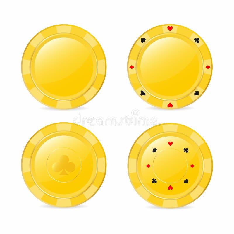 Χρυσό σύνολο τσιπ παιχνιδιού με τα κοστούμια Καρδιά, διαμάντι, φτυάρι, λέσχη Ρεαλιστικά τσιπ απεικόνιση αποθεμάτων
