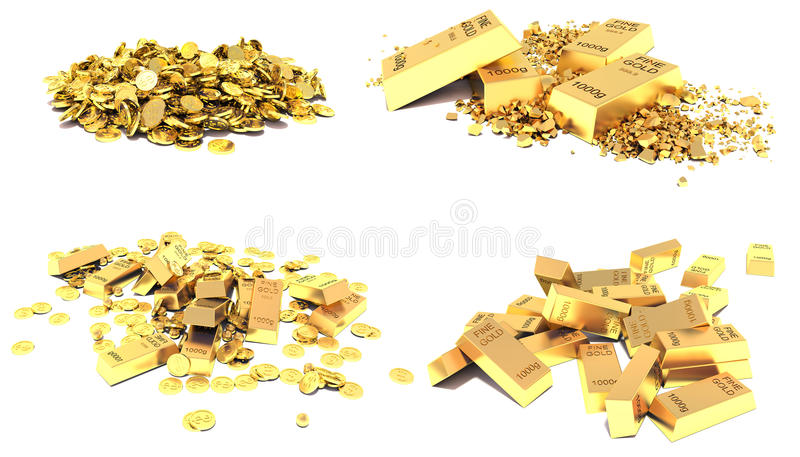 Χρυσό σύνολο Χρυσοί φραγμοί, νομίσματα και χρυσά κομμάτια που απομονώνονται στο λευκό απεικόνιση αποθεμάτων