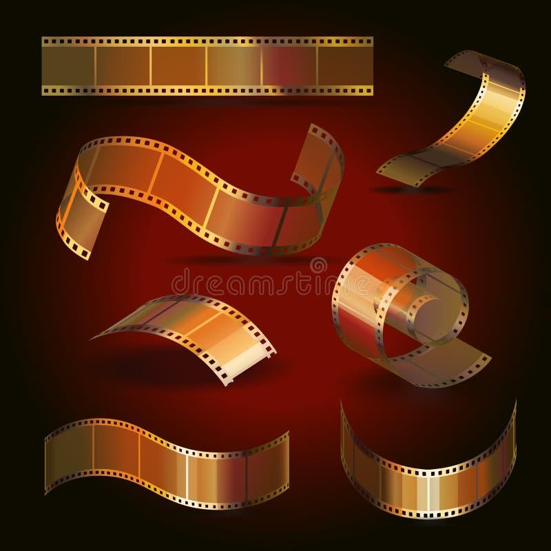Χρυσό σύνολο χρώματος ρόλων ταινιών καμερών, διάνυσμα διανυσματική απεικόνιση