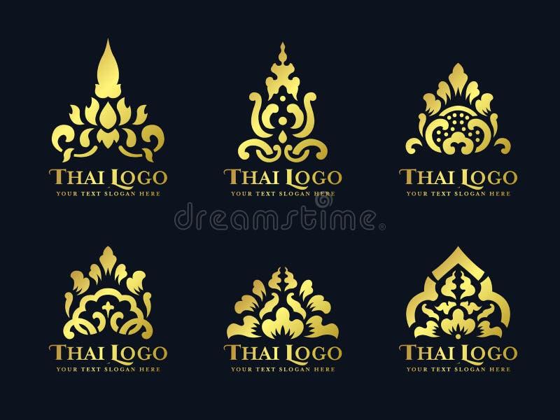 Χρυσό ταϊλανδικό διανυσματικό καθορισμένο σχέδιο λογότυπων λουλουδιών λωτού τέχνης παραδοσιακό διανυσματική απεικόνιση