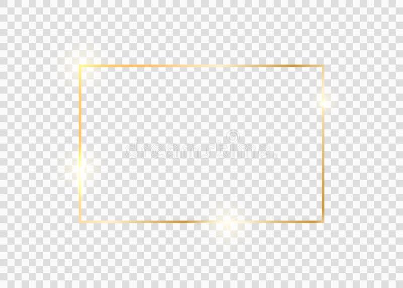 Χρυσό τετράγωνο πλαίσιο Περίγραμμα γραμμής χρυσής πολυτελείας απεικόνιση αποθεμάτων