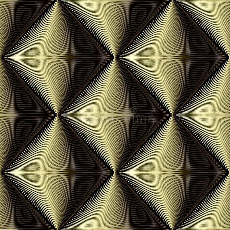 Χρυσό τρισδιάστατο κατασκευασμένο διανυσματικό άνευ ραφής σχέδιο Αφηρημένο γεωμετρικό sur απεικόνιση αποθεμάτων
