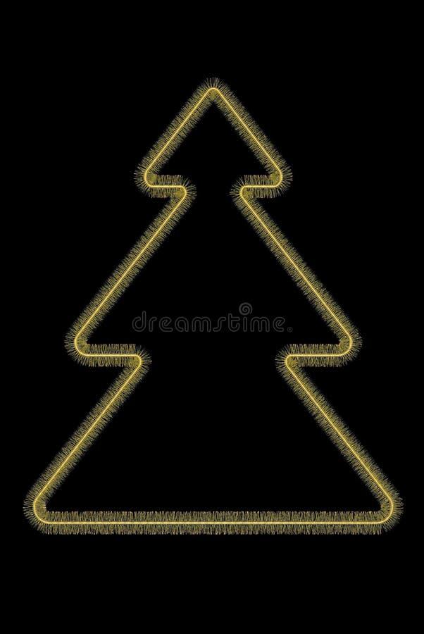 Χρυσό τυποποιημένο χριστουγεννιάτικο δέντρο απεικόνιση αποθεμάτων