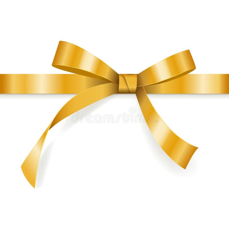 Χρυσό τόξο με την οριζόντια κορδέλλα που απομονώνεται στο άσπρο υπόβαθρο για τη διακόσμηση δώρων, ευχετήρια κάρτα, σχέδιο διακοπώ ελεύθερη απεικόνιση δικαιώματος