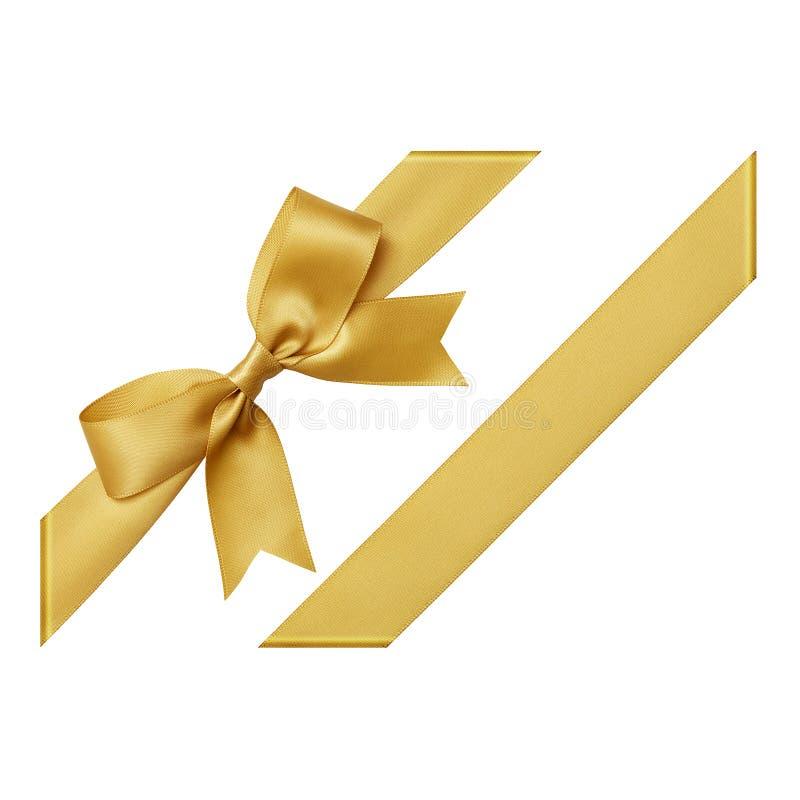 Χρυσό τόξο φιαγμένο από κορδέλλα σατέν στοκ φωτογραφία με δικαίωμα ελεύθερης χρήσης