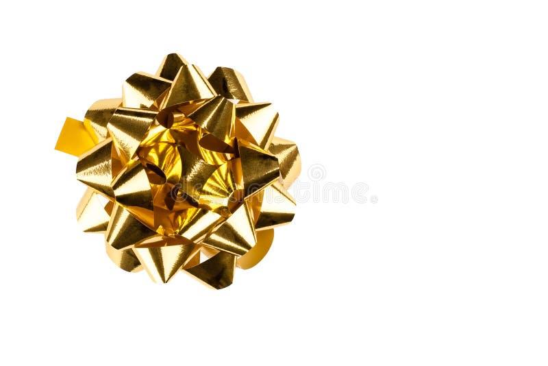 Χρυσό τόξο δώρων στοκ φωτογραφία