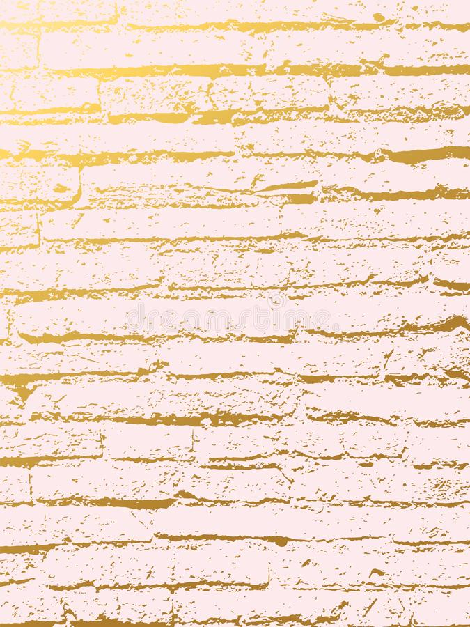 Χρυσό υπόβαθρο κάλυψης τούβλου μίμησης Αφηρημένο σκηνικό με τον παλαιό βράχο, σύσταση πετρών διανυσματική απεικόνιση