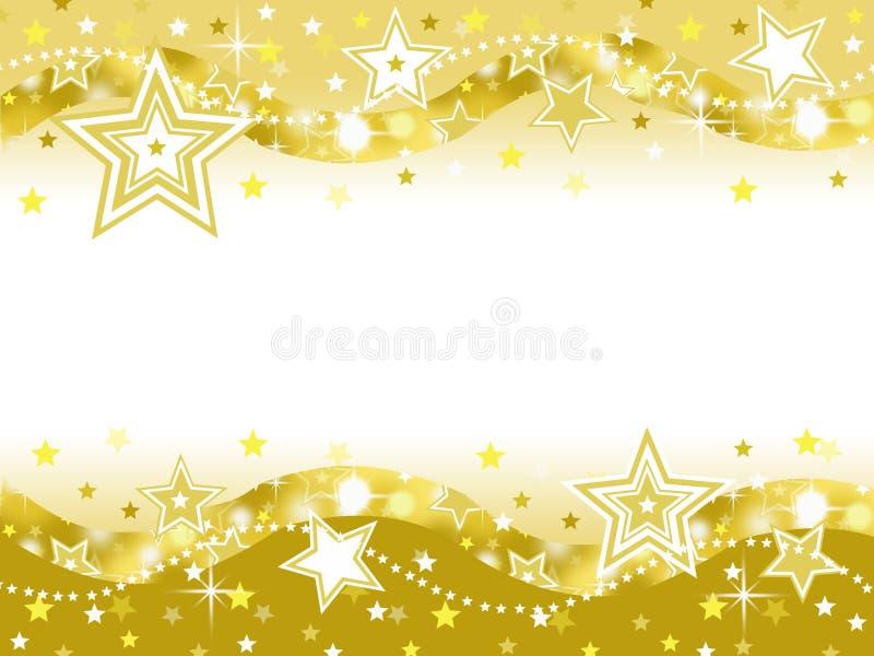 Χρυσό υπόβαθρο κομμάτων εορτασμού αστεριών με το κενό διάστημα ελεύθερη απεικόνιση δικαιώματος