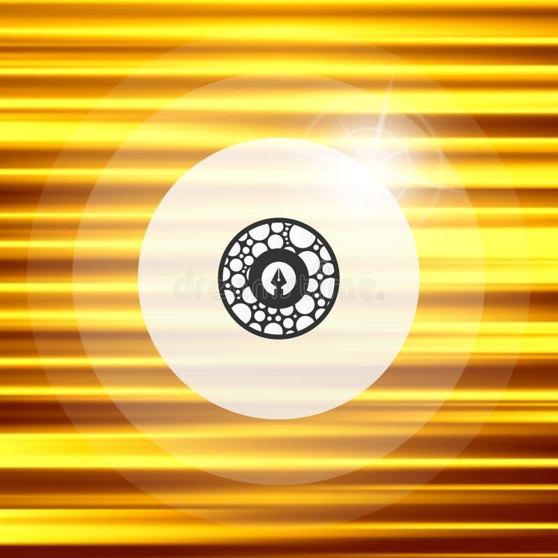 Χρυσό υπόβαθρο κυμάτων Μεταλλικό πιάτο με το απεικονισμένο φως διάνυσμα ελεύθερη απεικόνιση δικαιώματος
