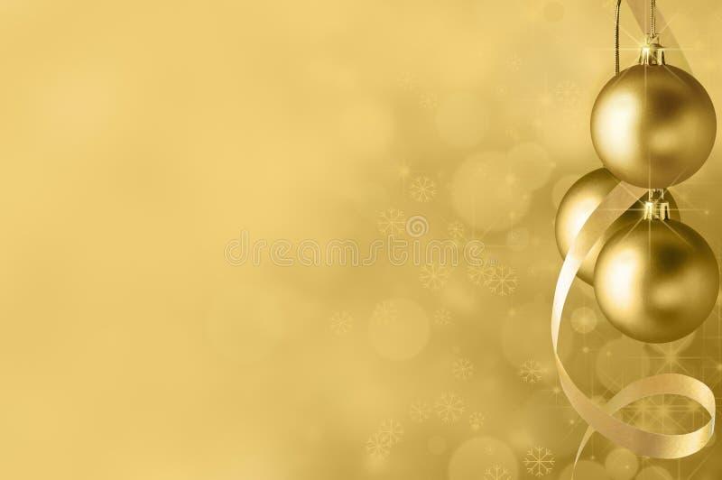 Χρυσό υπόβαθρο μπιχλιμπιδιών Χριστουγέννων ελεύθερη απεικόνιση δικαιώματος