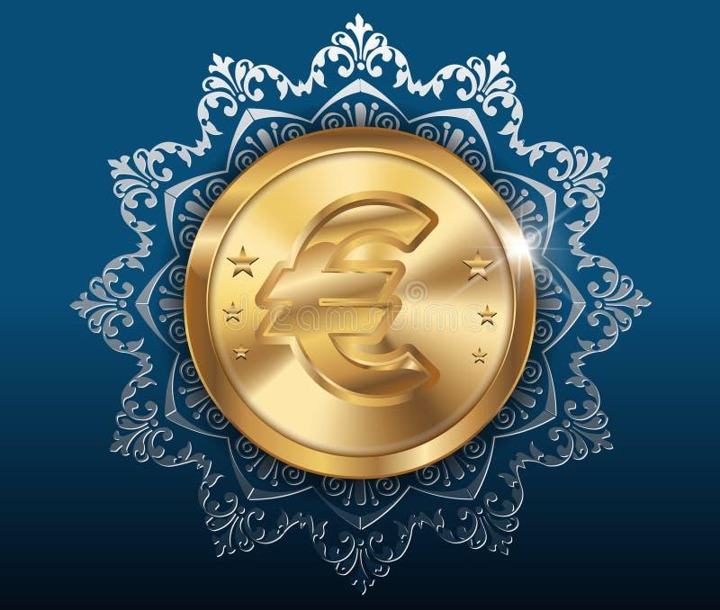 Χρυσό υπόβαθρο νομισμάτων και σχεδίων, χρυσά νομίσματα με το ευρώ διανυσματική απεικόνιση