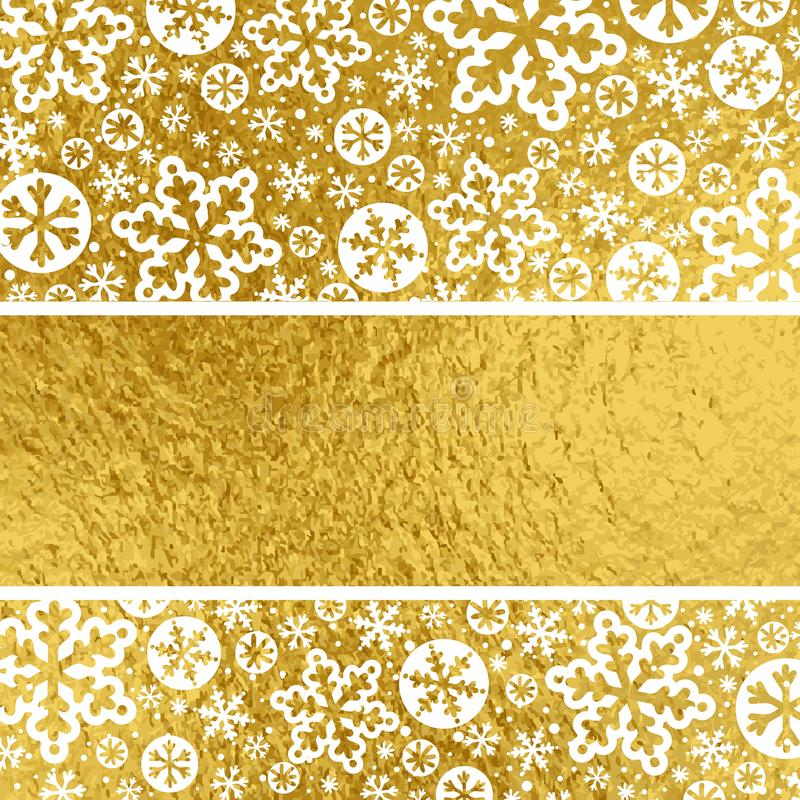 Χρυσό υπόβαθρο Χριστουγέννων με άσπρα snowflakes, διανυσματικό illus ελεύθερη απεικόνιση δικαιώματος