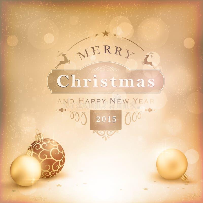 Χρυσό υπόβαθρο Χριστουγέννων Desaturatet με τα μπιχλιμπίδια ελεύθερη απεικόνιση δικαιώματος