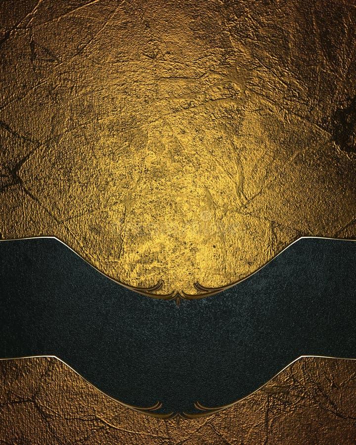 Χρυσό υπόβαθρο Grunge με ένα μπλε πιάτο Πρότυπο για το σχέδιο διάστημα αντιγράφων για το φυλλάδιο αγγελιών ή την πρόσκληση ανακοί απεικόνιση αποθεμάτων