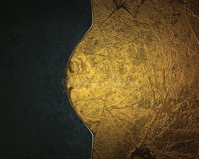 Χρυσό υπόβαθρο Grunge με μια μπλε άκρη Πρότυπο για το σχέδιο διανυσματική απεικόνιση