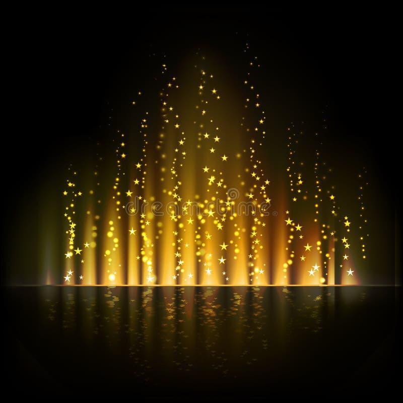 Χρυσό φως αυγής αφηρημένο διάνυσμα ανασκ&omicr απεικόνιση αποθεμάτων