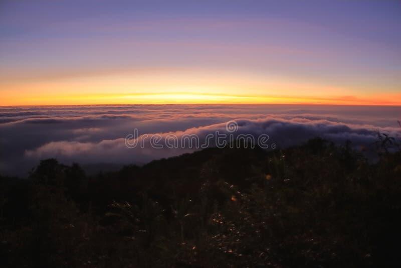 Χρυσό φως πρωινού κατά τη διάρκεια της ανατολής επάνω από το βουνό και την ομίχλη με τη χλόη στο πρώτο πλάνο στοκ φωτογραφίες