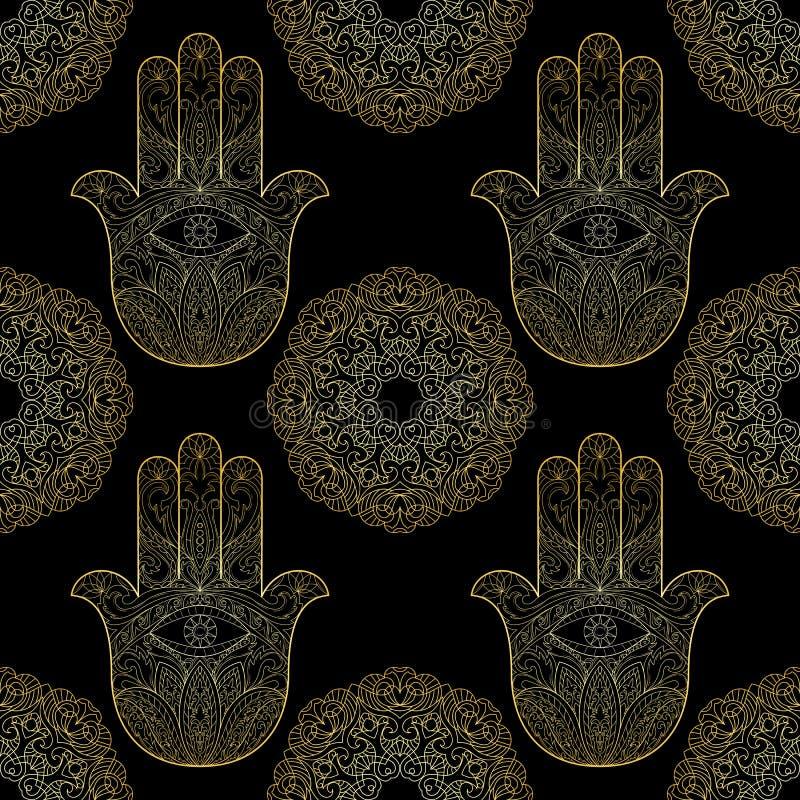 Χρυσό χέρι της Fatima με το άνευ ραφής σχέδιο Mandala απεικόνιση αποθεμάτων