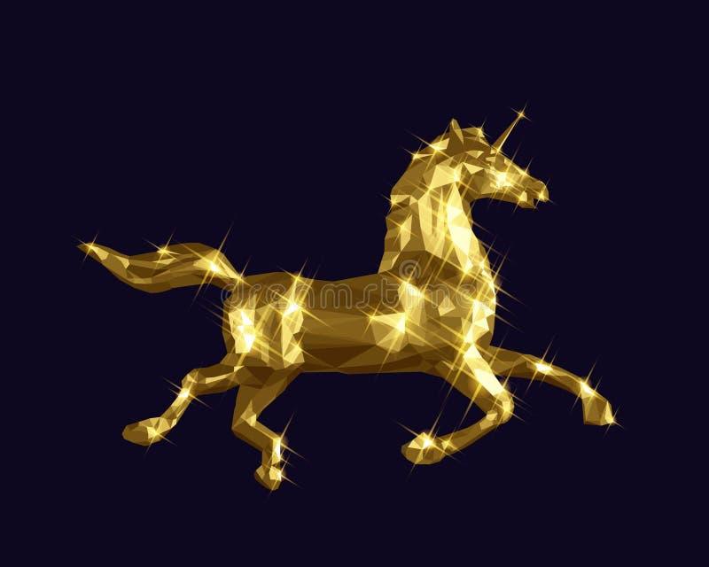 Χρυσό χαμηλό πολυ σχέδιο αλόγων μονοκέρων απεικόνιση αποθεμάτων