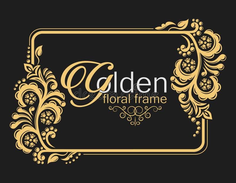 Χρυσό χαριτωμένο πλαίσιο διακοσμητικός floral συνόρων εραλδικά σύμβολα ελεύθερη απεικόνιση δικαιώματος