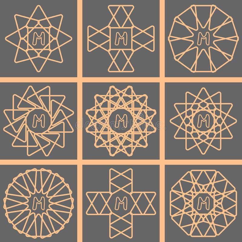 Χρυσό χαριτωμένο σύνολο λογότυπων μονογραμμάτων γραμμών διανυσματική απεικόνιση