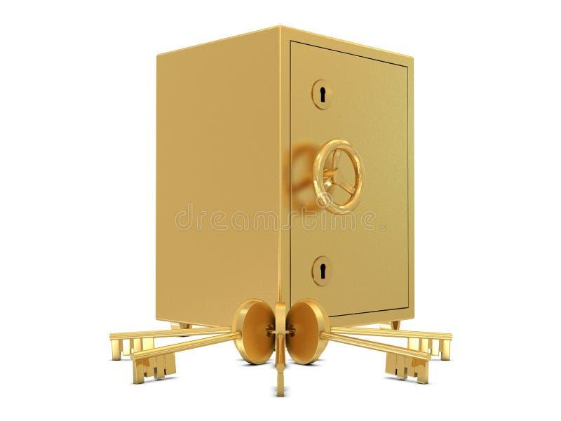 χρυσό χρηματοκιβώτιο πλήκ& διανυσματική απεικόνιση