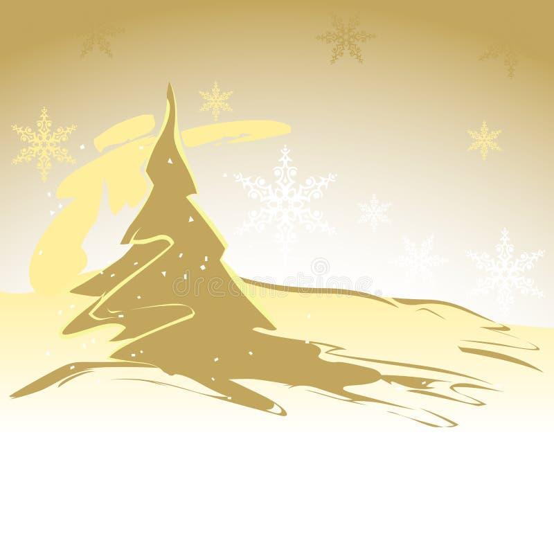 Χρυσό χριστουγεννιάτικο δέντρο απεικόνιση αποθεμάτων