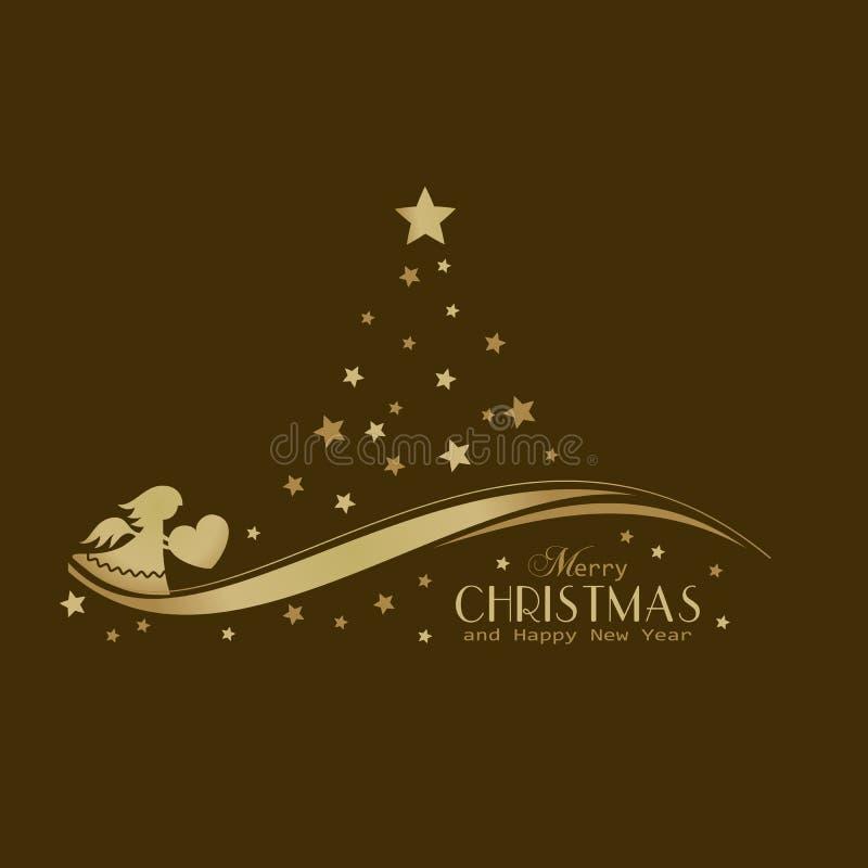 Χρυσό χριστουγεννιάτικο δέντρο αστεριών με τον άγγελο απεικόνιση αποθεμάτων