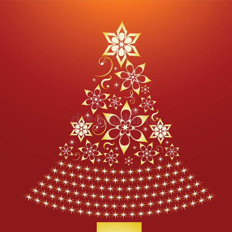 Χρυσό χριστουγεννιάτικο δέντρο διανυσματική απεικόνιση