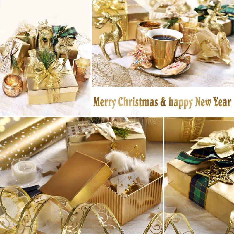 Χρυσό χριστουγεννιάτικο κολάζ στοκ φωτογραφίες