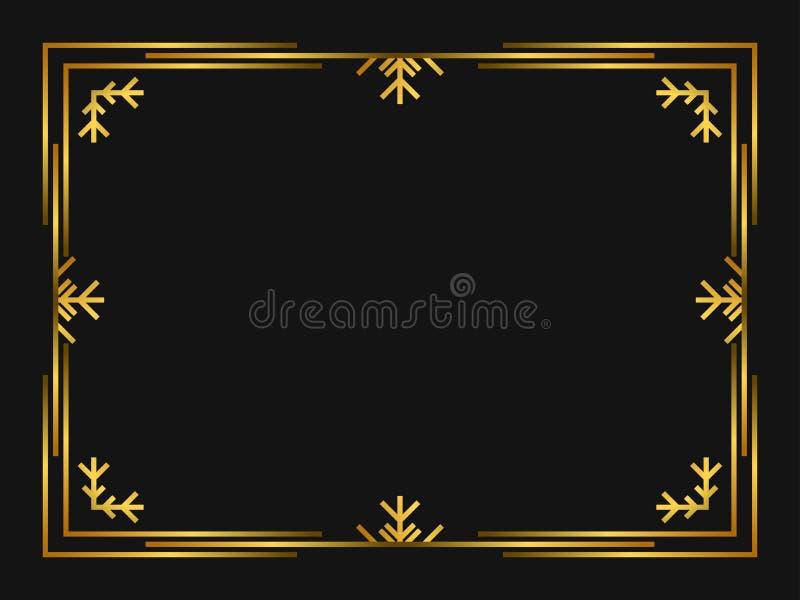 Χρυσό χρώμα πλαισίων deco χειμερινής τέχνης Εκλεκτής ποιότητας γραμμικά σύνορα Χριστουγέννων Σχεδιάστε ένα πρότυπο για τις προσκλ ελεύθερη απεικόνιση δικαιώματος