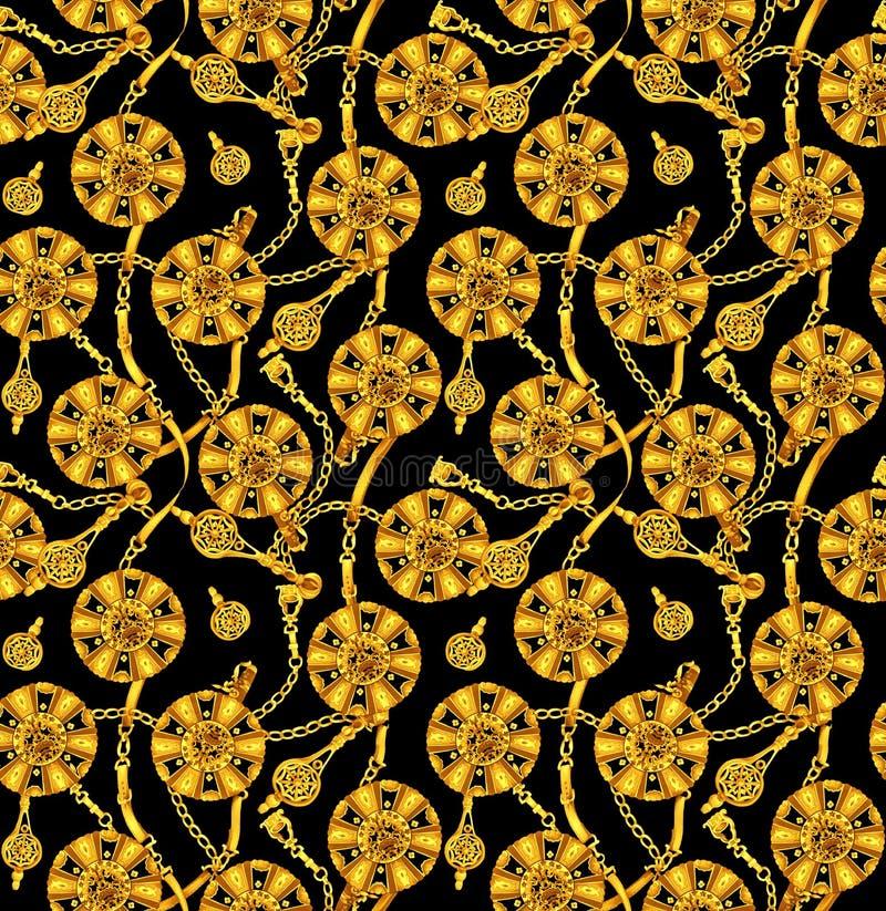 Χρυσό χρώμα σε μπαρόκ και την αλυσίδα στο μαύρο υπόβαθρο απεικόνιση αποθεμάτων