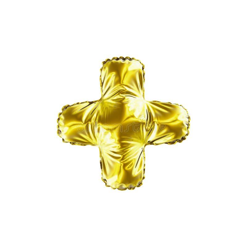 Χρυσό χρώμα συν τα σύμβολα σημαδιών math φιαγμένο από διογκώσιμο μπαλόνι απεικόνιση αποθεμάτων
