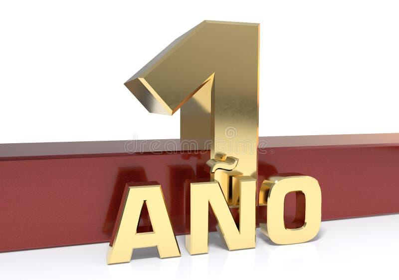 Χρυσό ψηφίο ένα και η λέξη του έτους Μεταφρασμένος από τα ισπανικά - έτη τρισδιάστατη απεικόνιση ελεύθερη απεικόνιση δικαιώματος