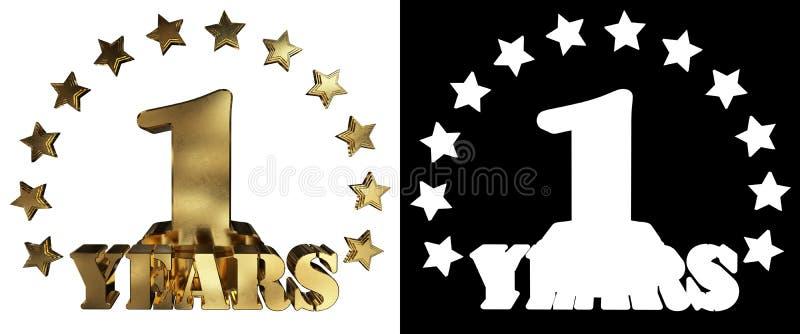 Χρυσό ψηφίο ένα και η λέξη του έτους, που διακοσμείται με τα αστέρια τρισδιάστατη απεικόνιση απεικόνιση αποθεμάτων