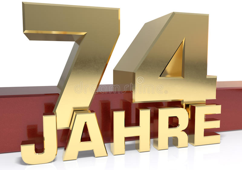 Χρυσό ψηφίο εβδομήντα τέσσερα και η λέξη του έτους Μεταφρασμένο φ απεικόνιση αποθεμάτων