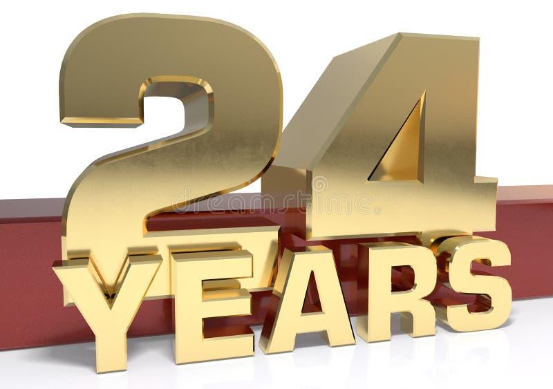 Χρυσό ψηφίο εικοσιτέσσερα και η λέξη του έτους τρισδιάστατο illustrati ελεύθερη απεικόνιση δικαιώματος
