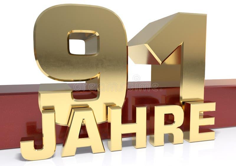 Χρυσό ψηφίο ενενήντα ένα και η λέξη του έτους Μεταφρασμένος για απεικόνιση αποθεμάτων