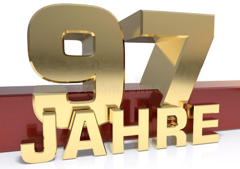 Χρυσό ψηφίο ενενήντα επτά και η λέξη του έτους Μεταφρασμένο φ διανυσματική απεικόνιση